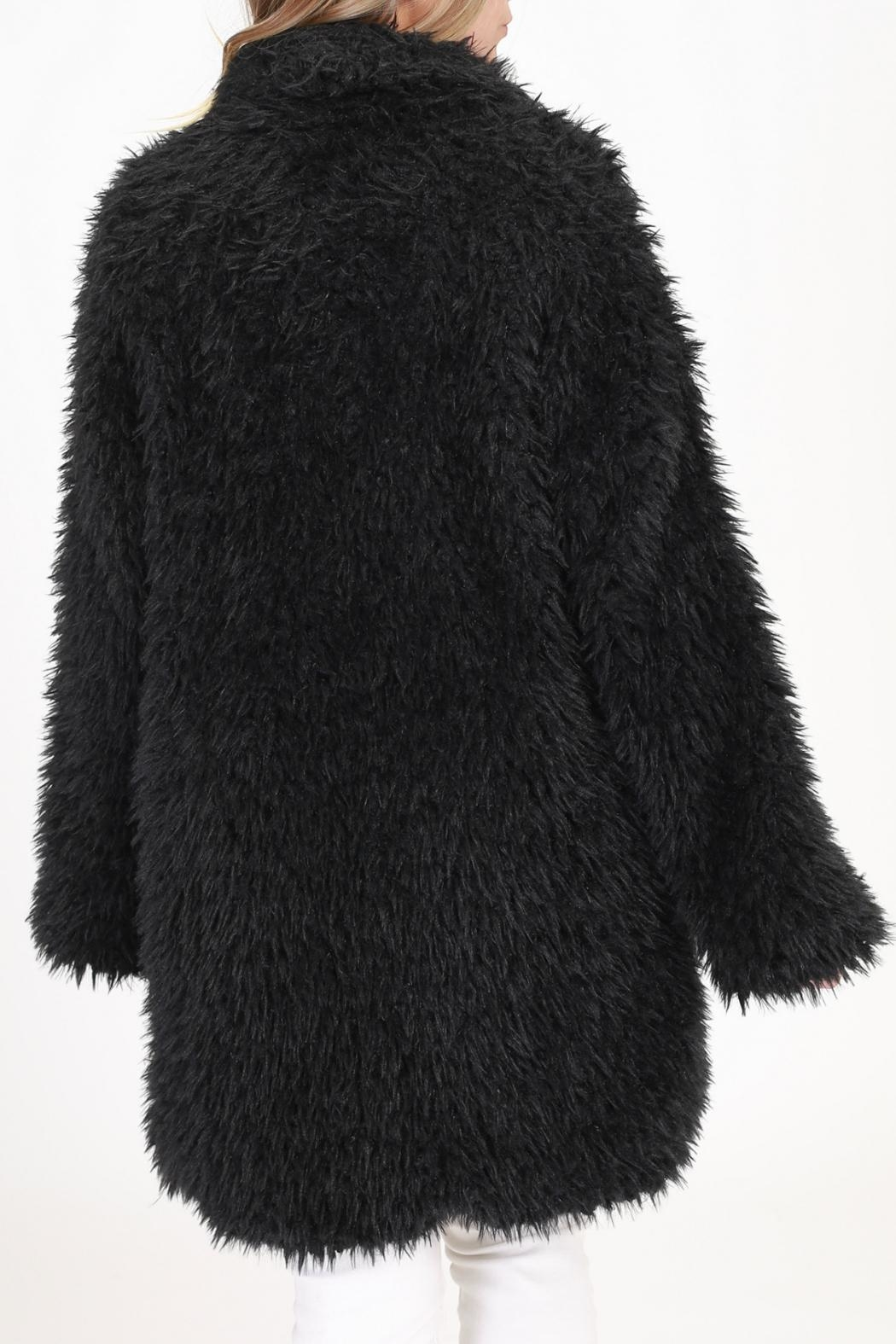 onetheland Black Fur Jacket - Back Cropped Image