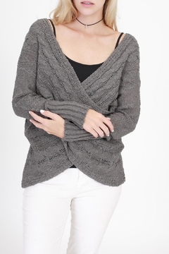 onetheland Charcoal Wrap Sweater - Product List Image