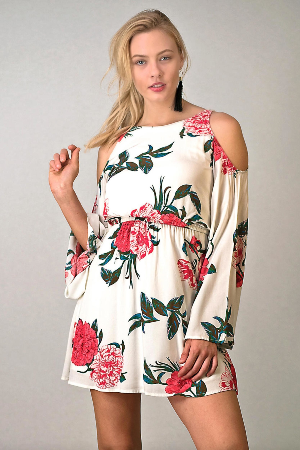 onetheland Cold-Shoulder Floral Dress - Main Image