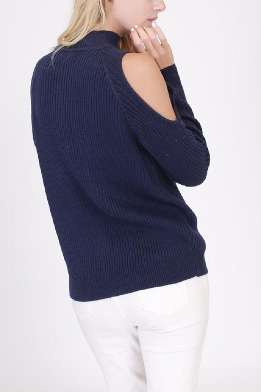 onetheland Cathy Cold Shoulder Sweater - Front Full Image
