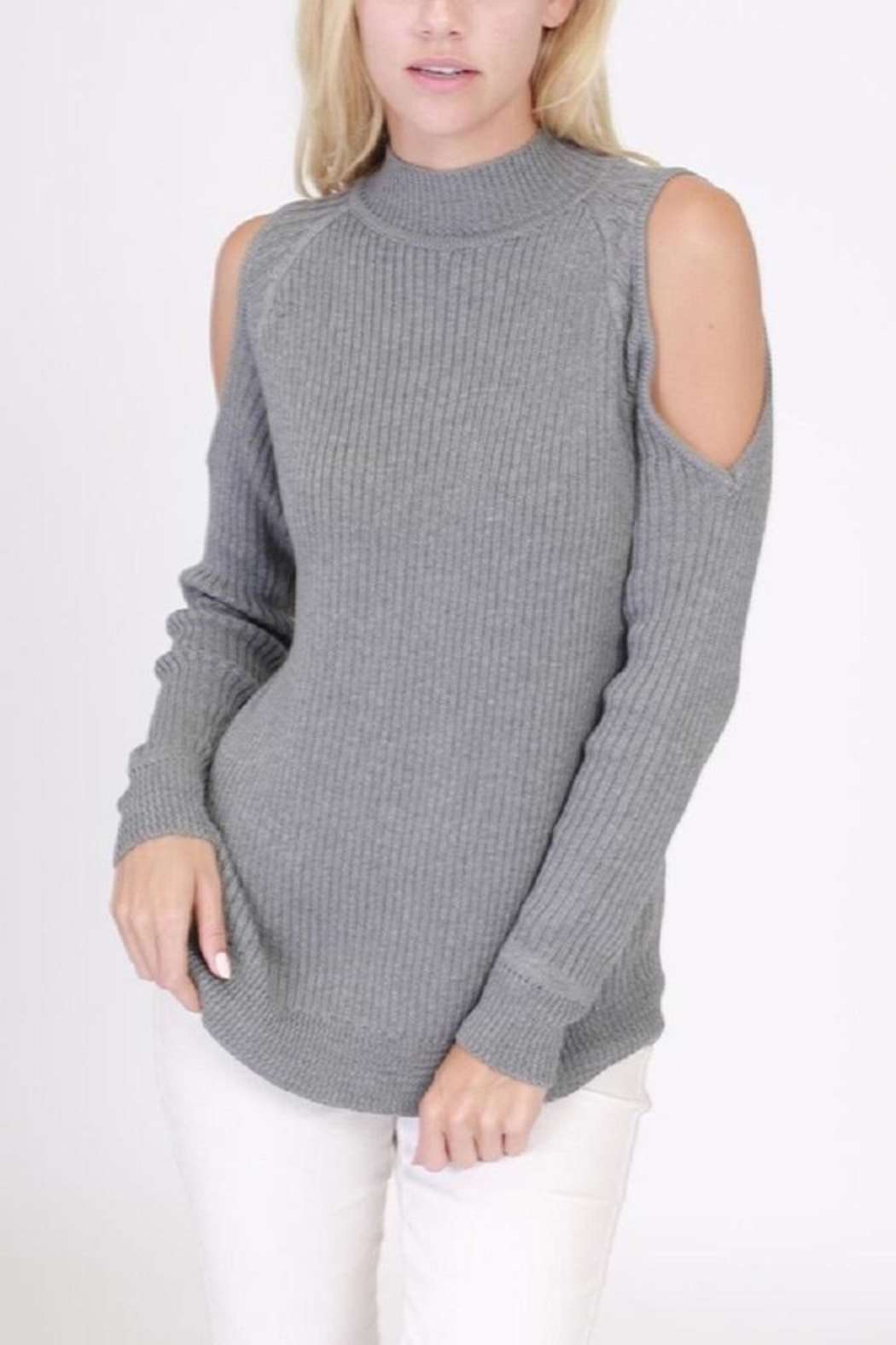 onetheland Cathy Cold Shoulder Sweater - Front Cropped Image