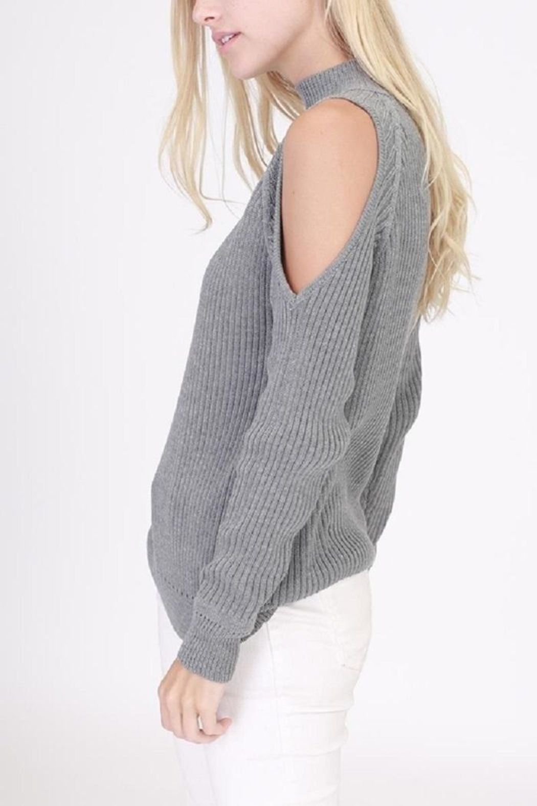 onetheland Cathy Cold Shoulder Sweater - Side Cropped Image