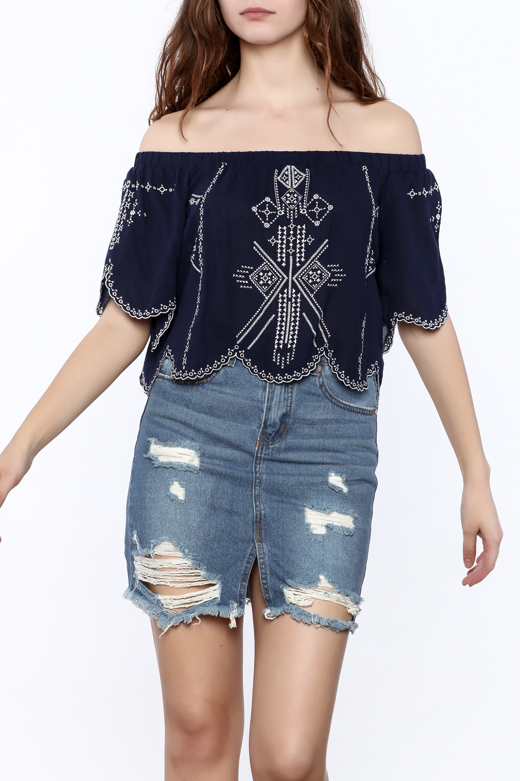 2d8d2cdddf3a59 onetheland Embroidered Crop Top from New York by Dor L'Dor — Shoptiques
