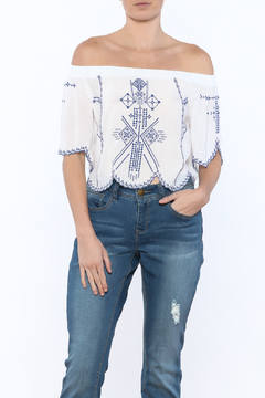 Shoptiques Product: Blue and White Embroidered Top