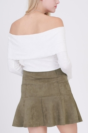 onetheland Olive Faux Suede Skirt - Front full body