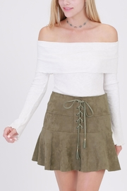 onetheland Olive Faux Suede Skirt - Side cropped