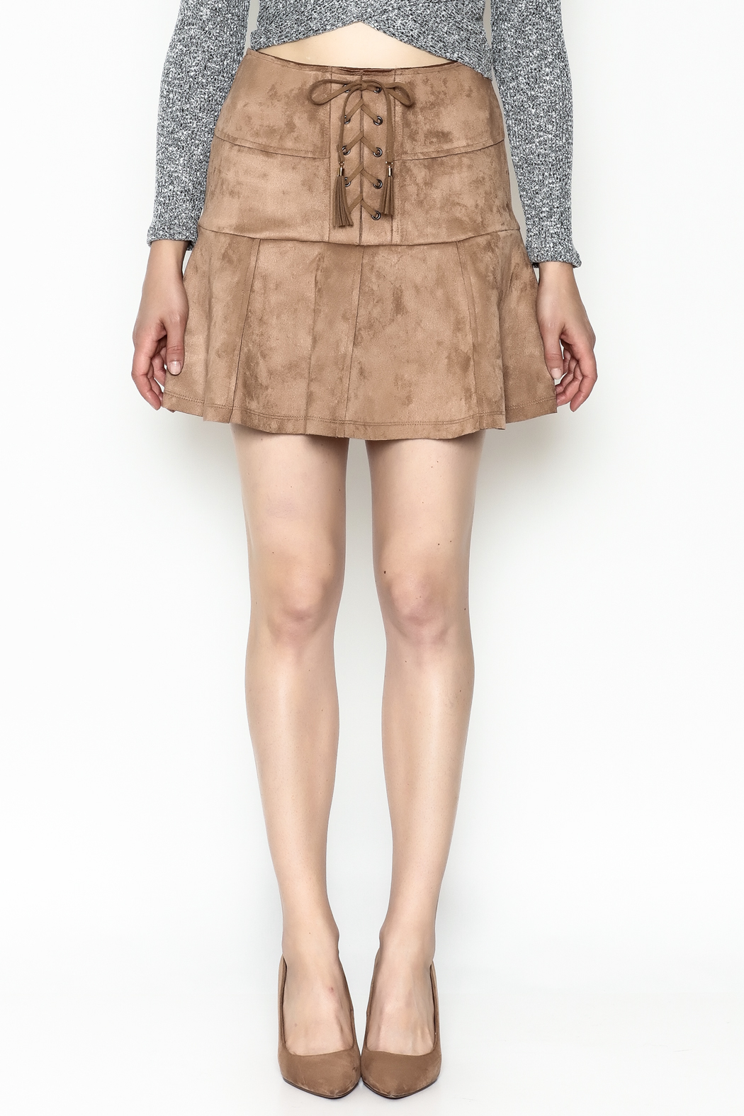 onetheland Faux Suede Skirt - Front Full Image