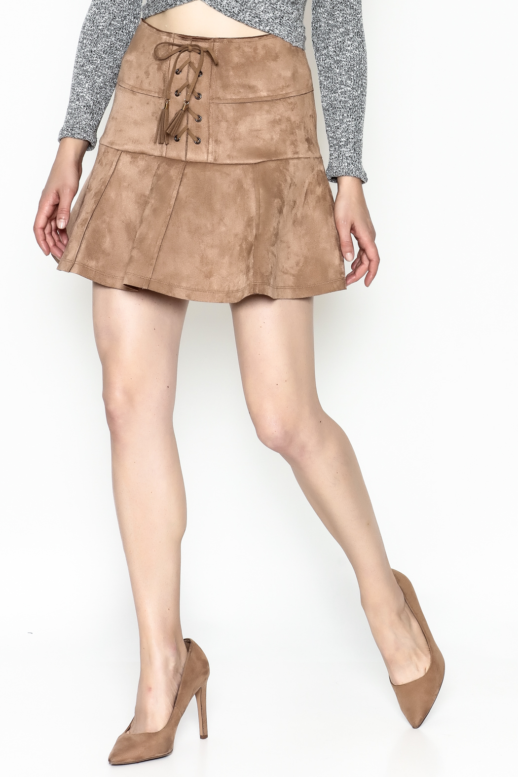 onetheland Faux Suede Skirt - Front Cropped Image