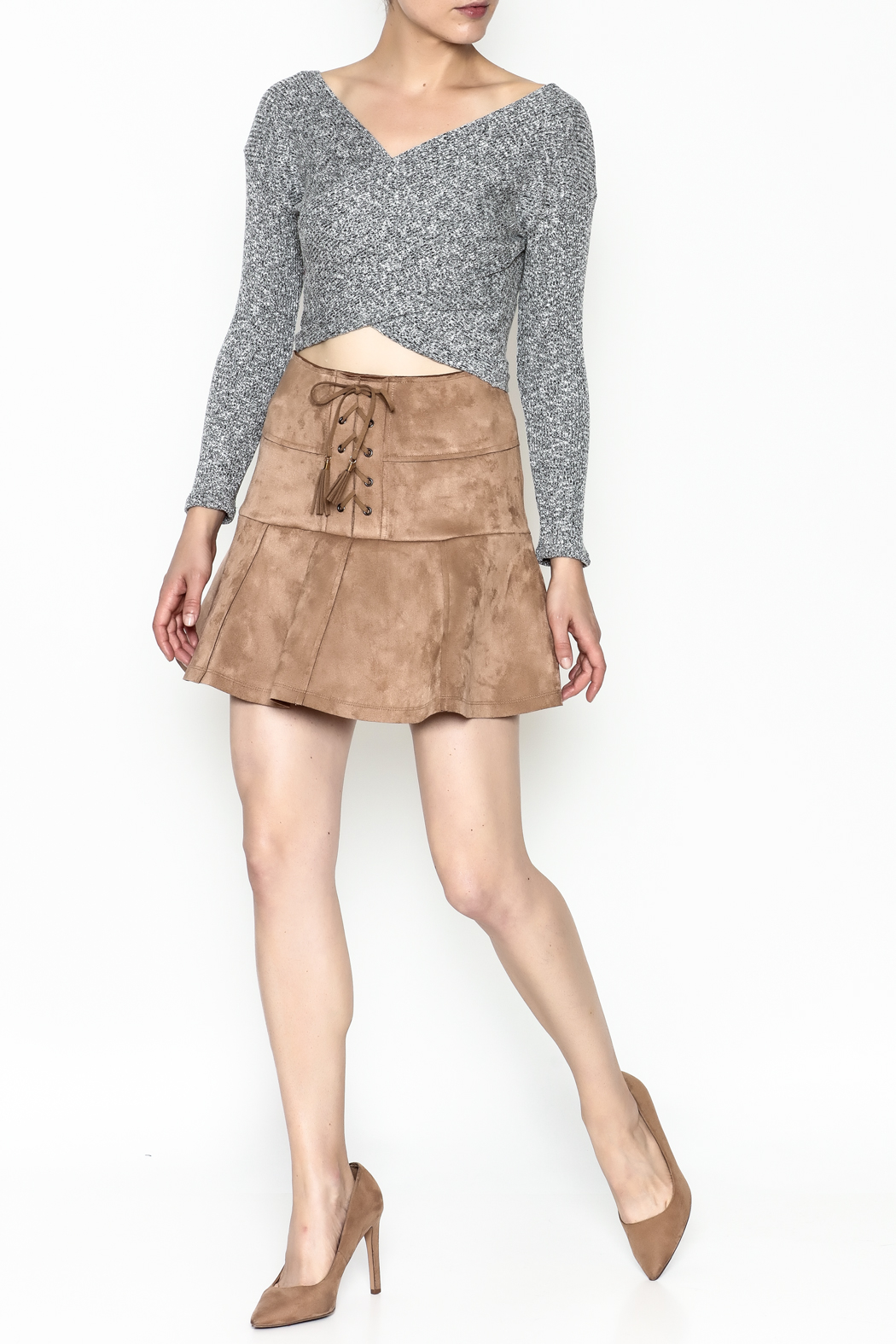 onetheland Faux Suede Skirt - Side Cropped Image
