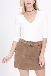 onetheland Brown Faux Suede Skirt - Side cropped