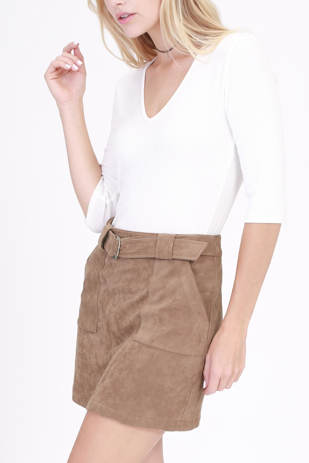onetheland Brown Faux Suede Skirt - Main Image