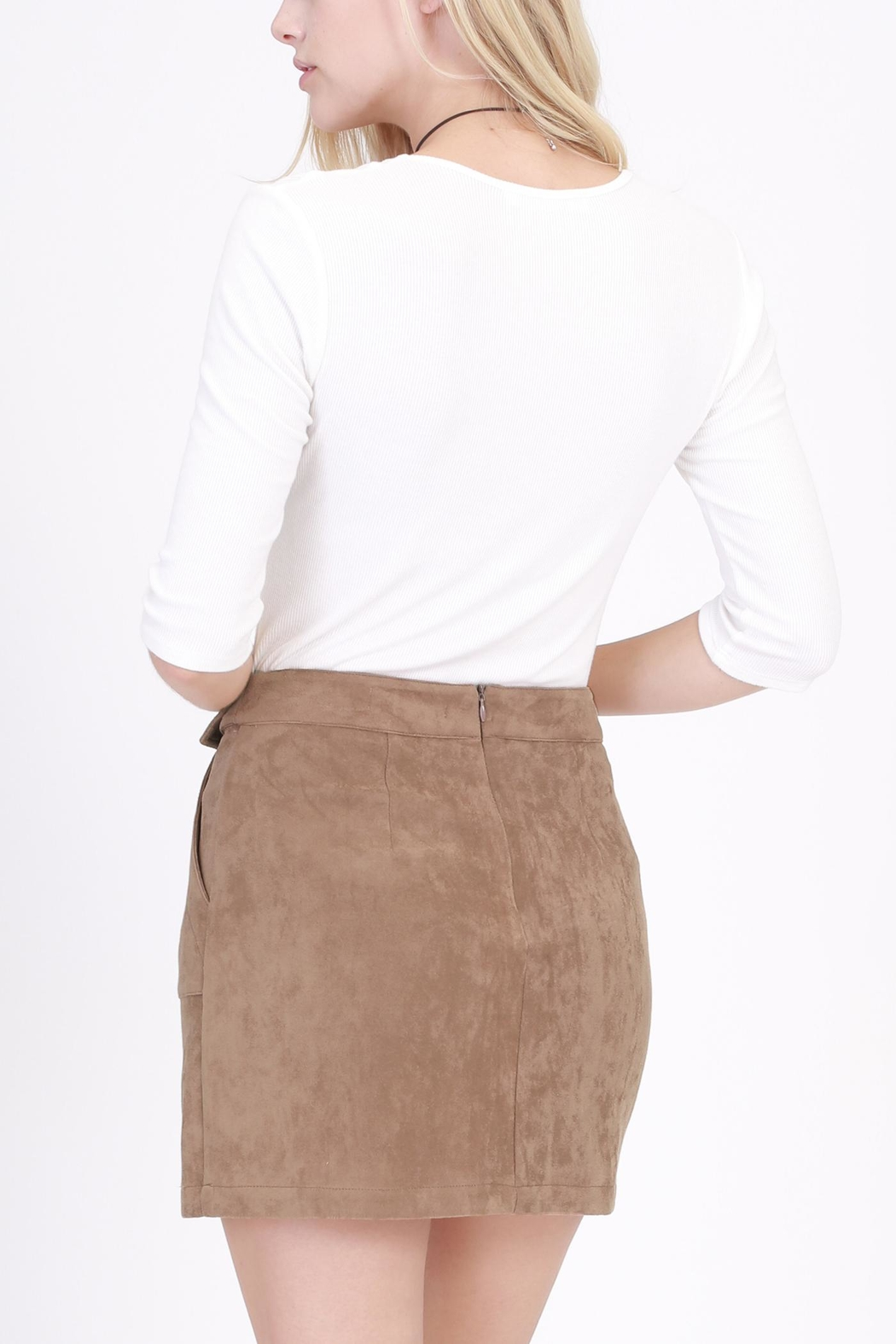 onetheland Brown Faux Suede Skirt - Front Full Image