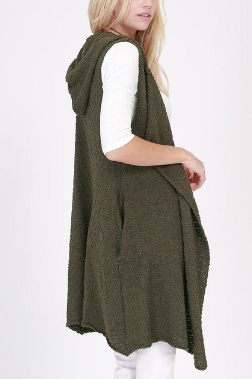 onetheland Knit Sweater Hoodie Vest - Front Full Image