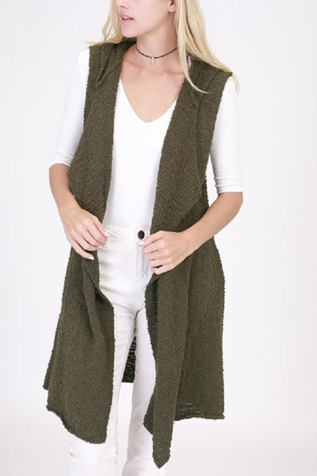 onetheland Knit Sweater Hoodie Vest - Front Cropped Image