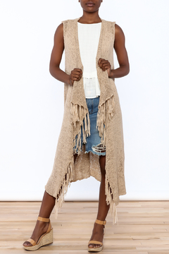 Shoptiques Product: Taupe Long Cardigan