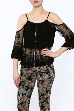 Shoptiques Product: Black Mesh Trim Top