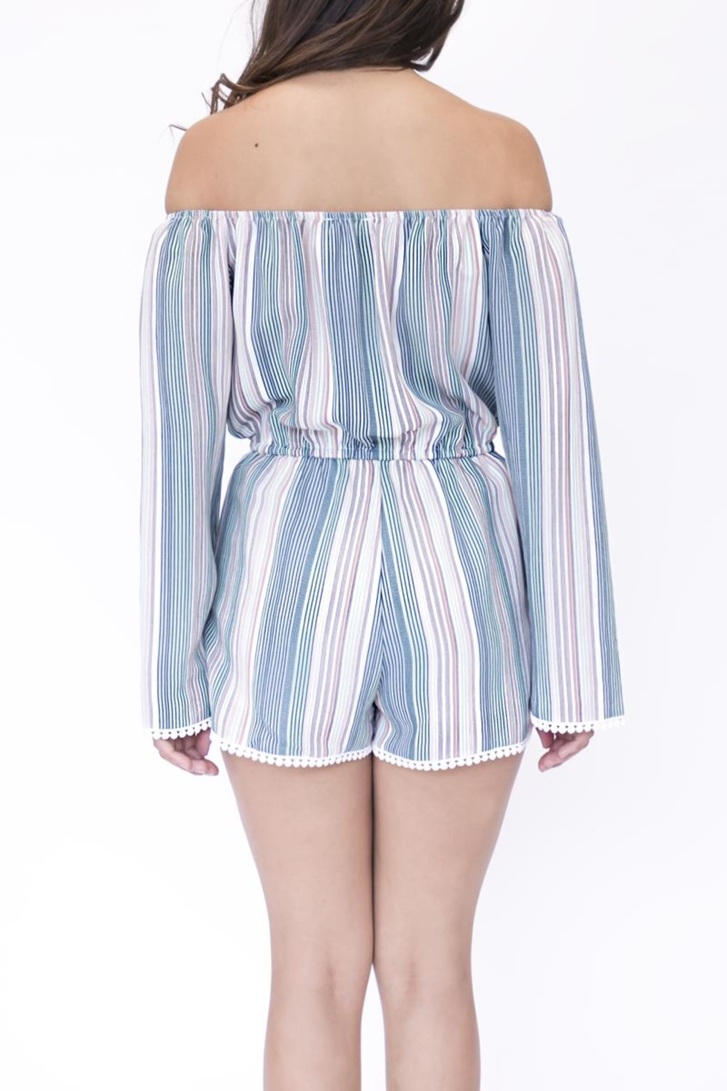 onetheland Multicolor Striped Romper - Front Full Image