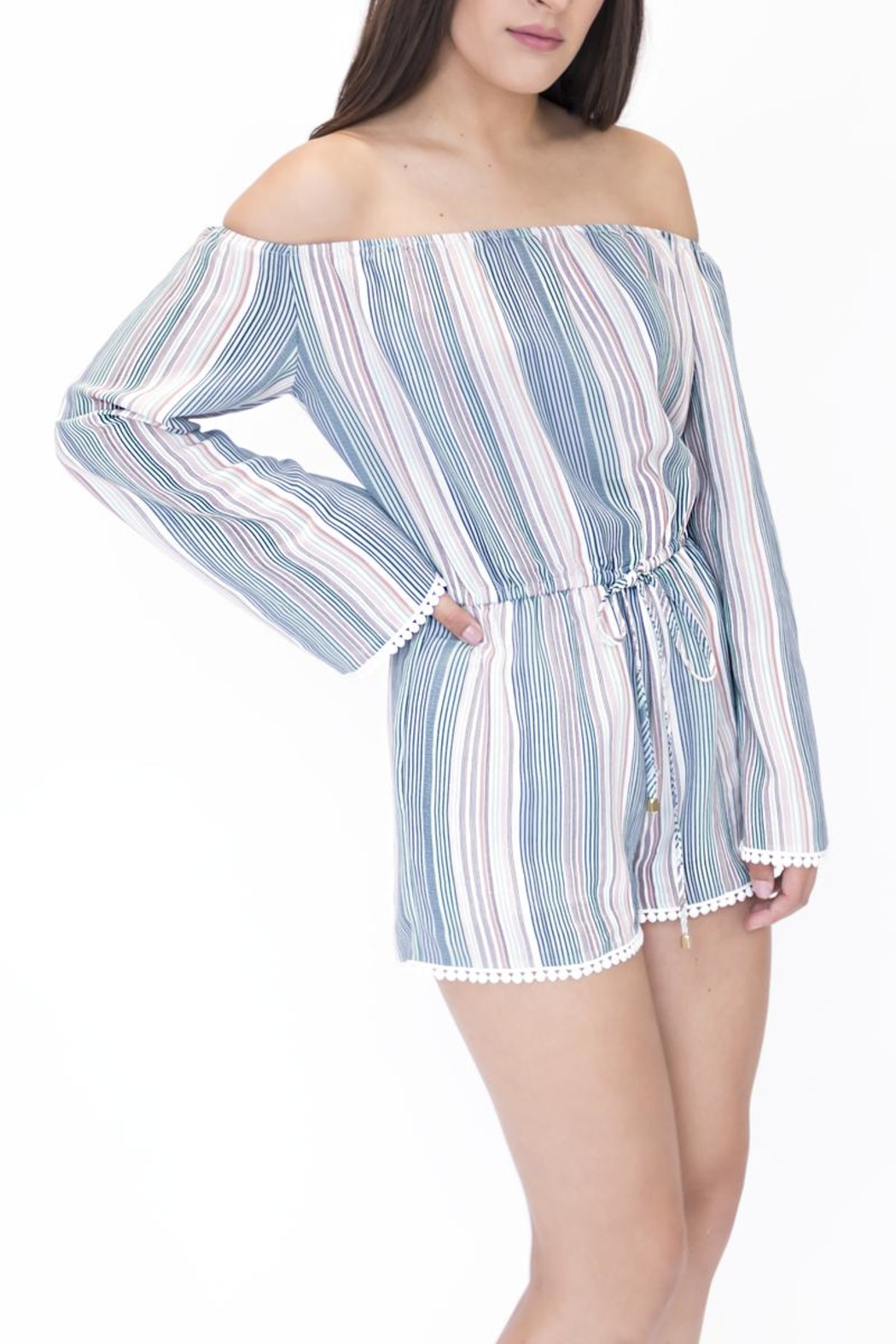 onetheland Multicolor Striped Romper - Side Cropped Image