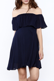 onetheland Navy Off-Shoulder Dress - Product Mini Image