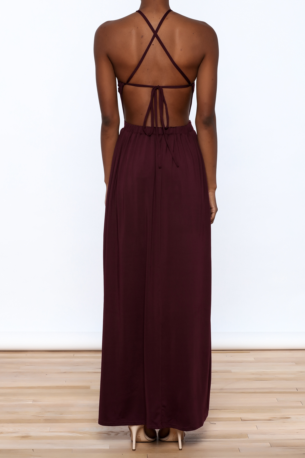 onetheland Purple Maxi Dress - Back Cropped Image