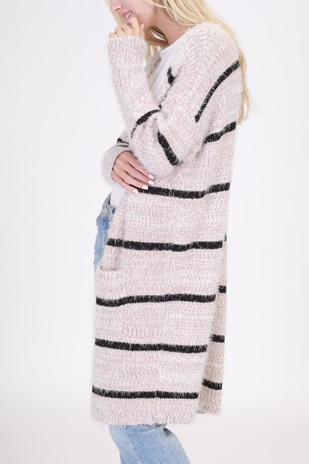onetheland Stripe Furry Cardigan - Side Cropped Image
