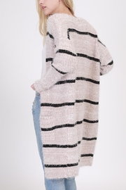 onetheland Stripe Furry Cardigan - Front full body
