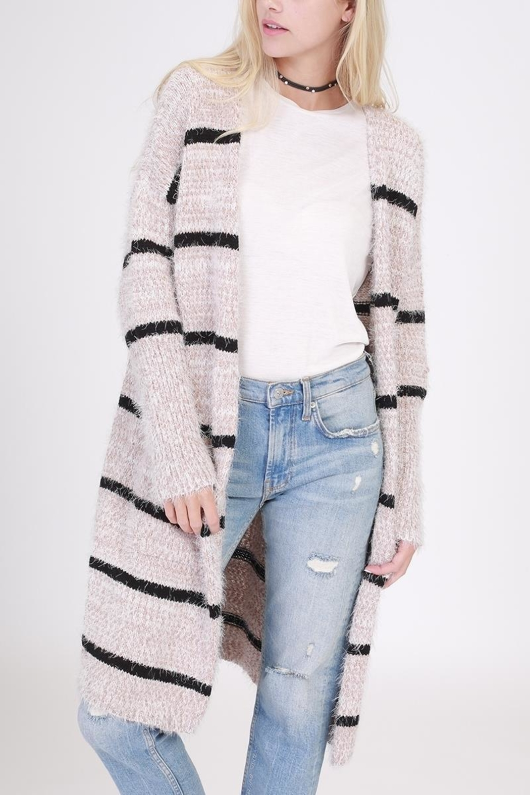 onetheland Stripe Furry Cardigan - Main Image