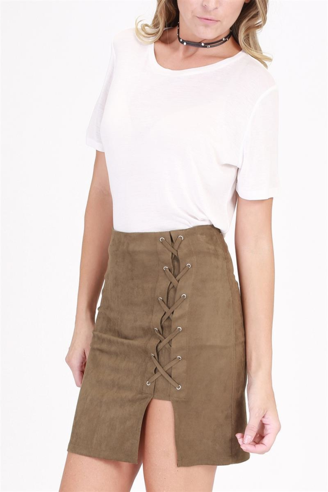 onetheland Tie Mini Skirt - Side Cropped Image