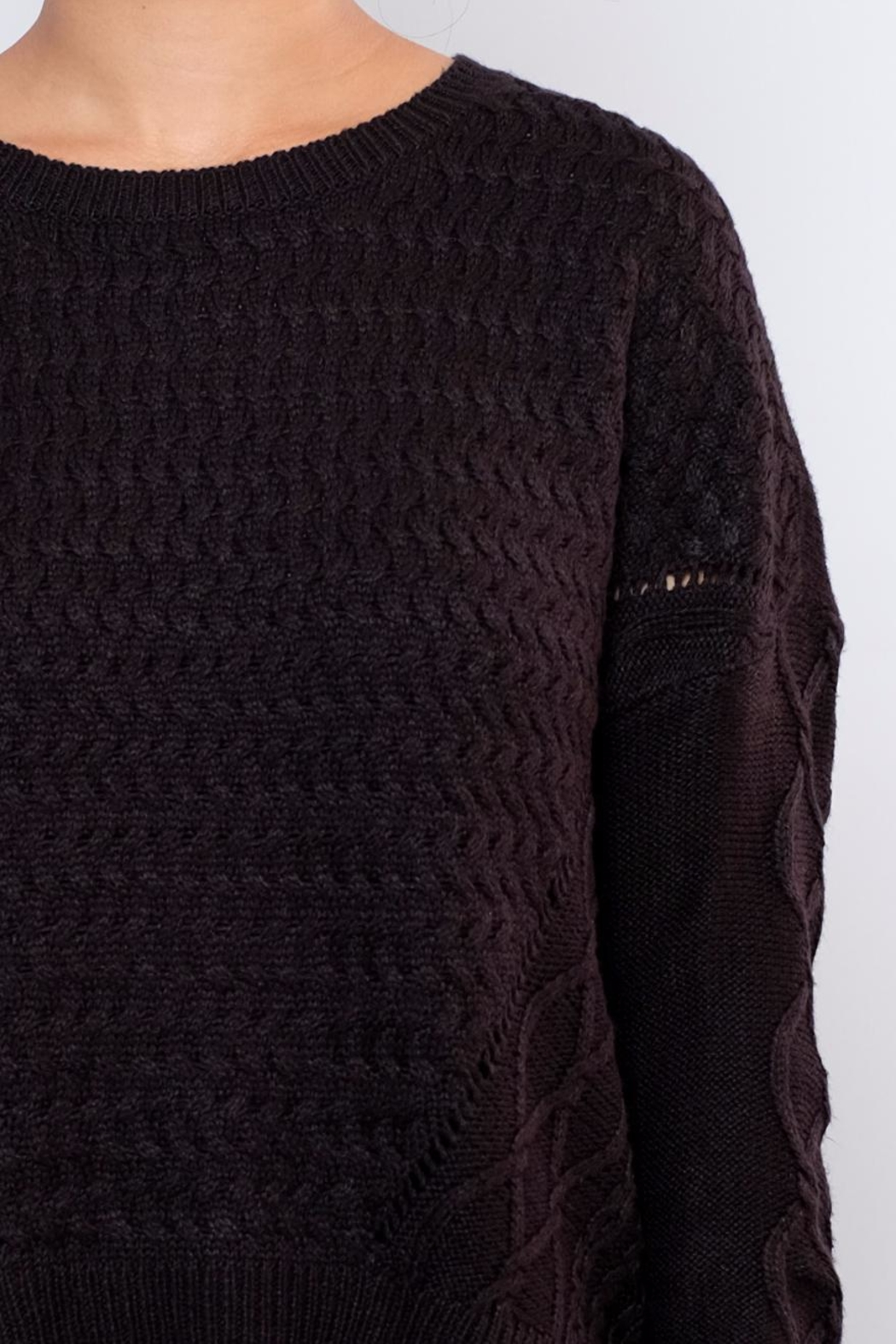 ONLY Cable Knit Sweater - Back Cropped Image