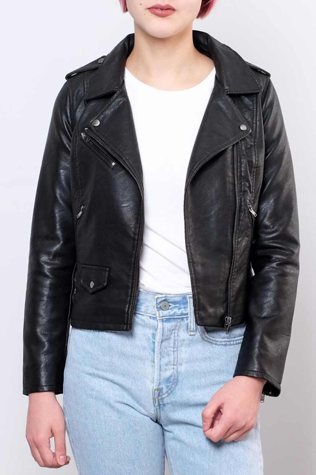 ONLY Cropped Faux Leather Jacket - Front Full Image