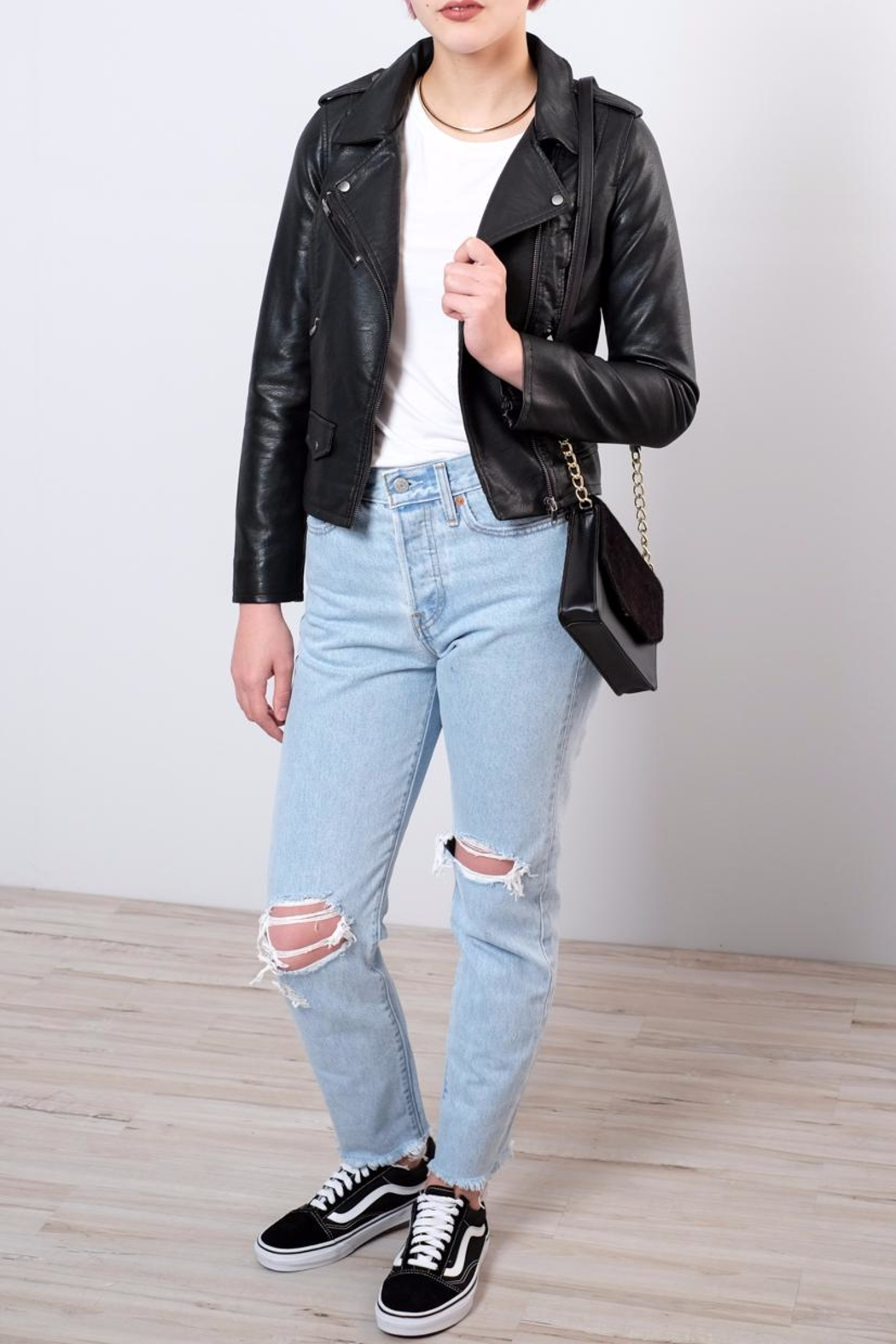 ONLY Cropped Faux Leather Jacket - Back Cropped Image