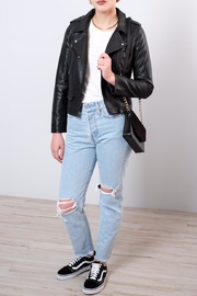 ONLY Cropped Faux Leather Jacket - Back cropped