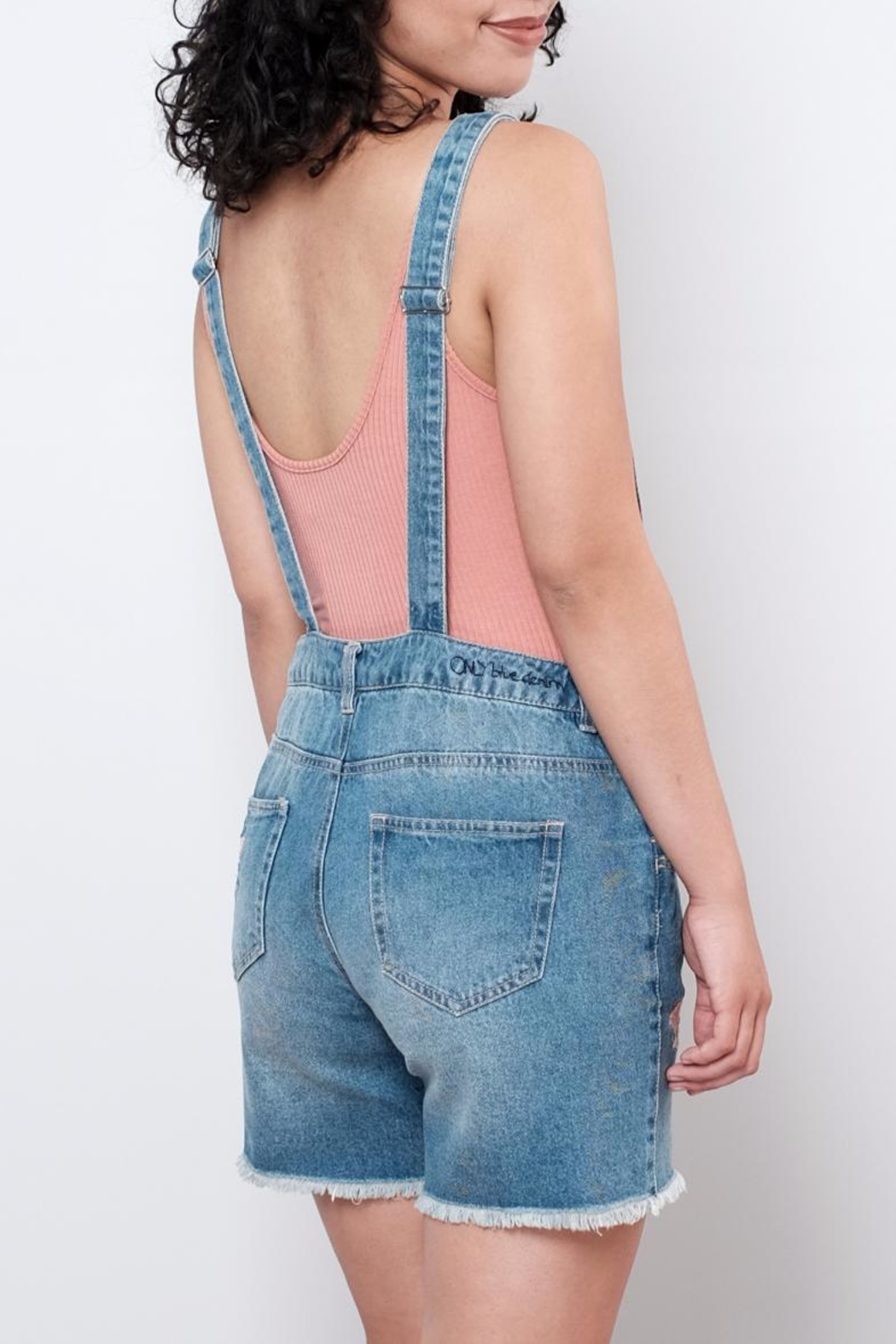ONLY Embroidered Short Overall - Back Cropped Image