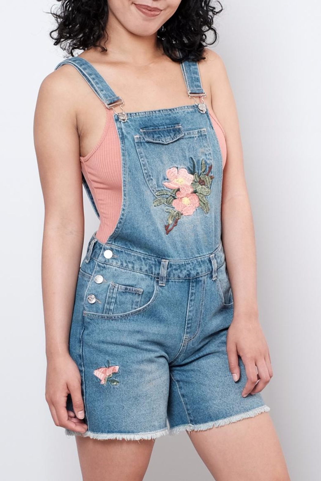 ONLY Embroidered Short Overall - Side Cropped Image