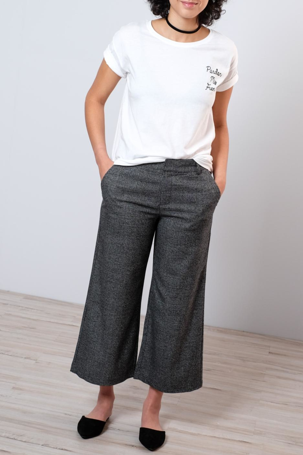 ONLY High Waisted Check Trousers - Back Cropped Image