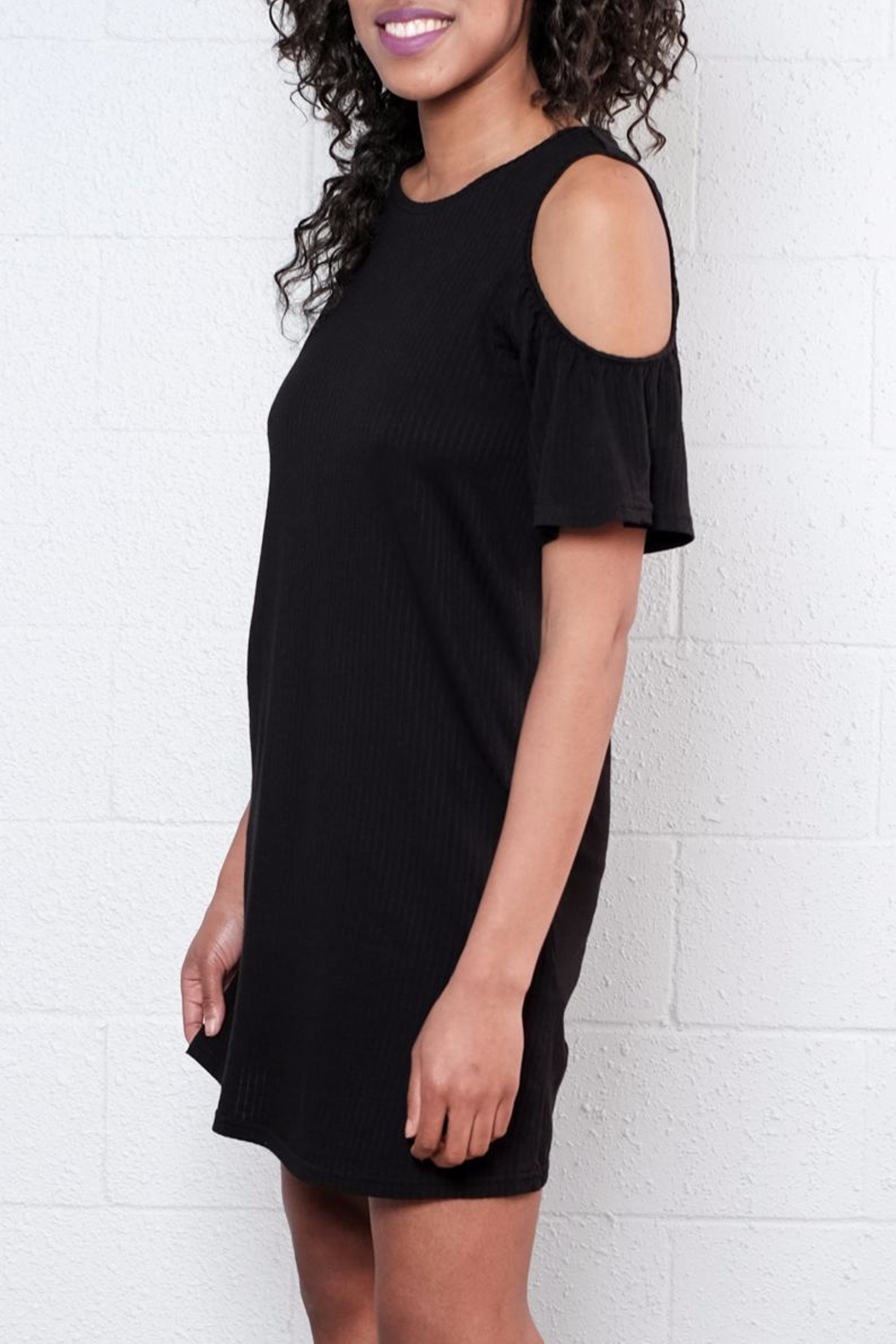 ONLY Ruffled Cold Shoulder Dress - Side Cropped Image
