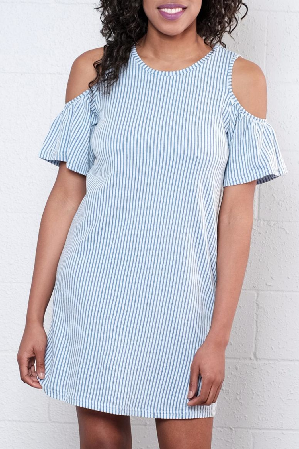 ONLY Ruffled Cold Shoulder Dress - Front Full Image
