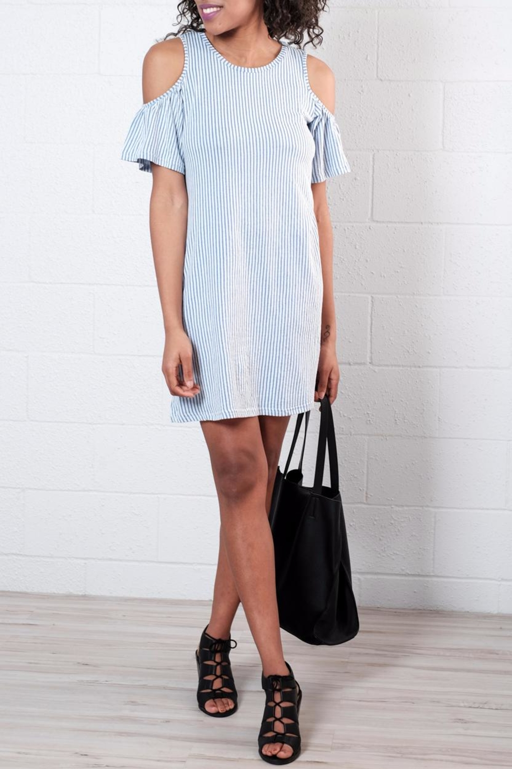 ONLY Ruffled Cold Shoulder Dress - Front Cropped Image