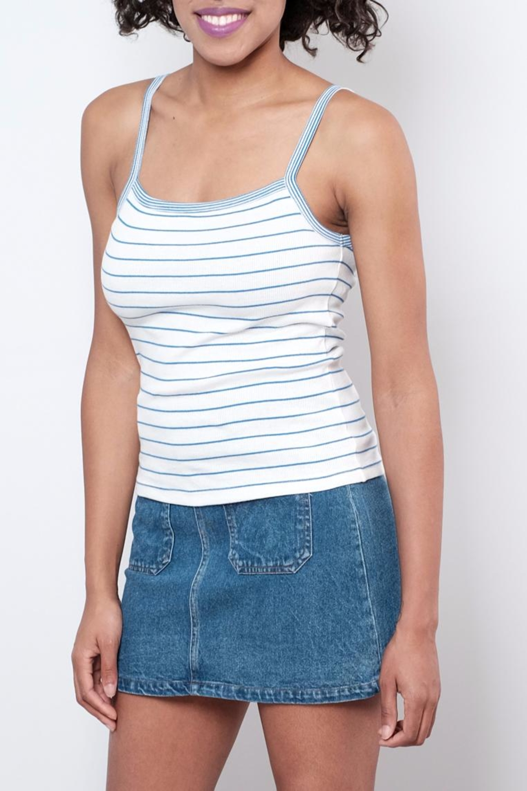 ONLY Striped Tank Top - Front Cropped Image