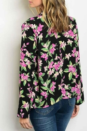 OnTwelfth Black Floral Cardigan - Front full body