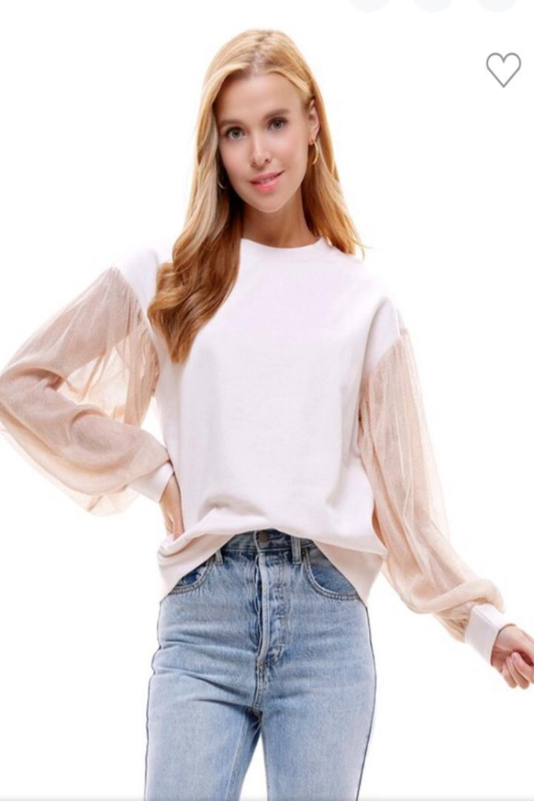 OnTwelfth Metallic Sheer Top - Front Cropped Image