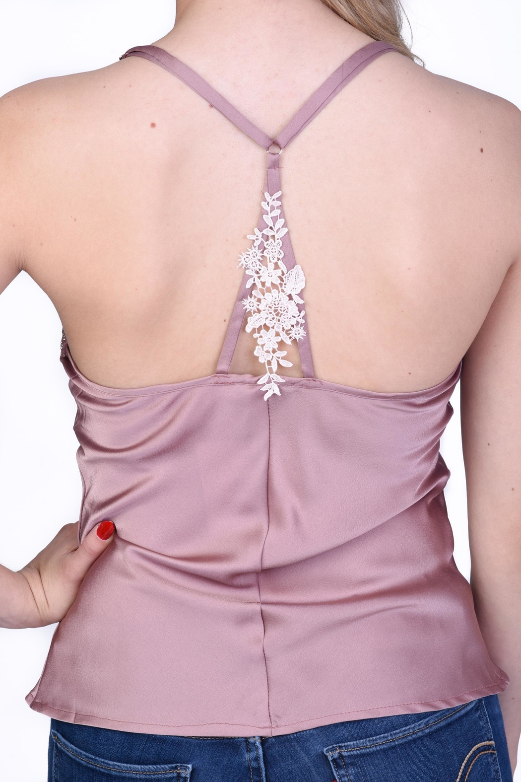 OnTwelfth Lace Slip Cami - Back Cropped Image
