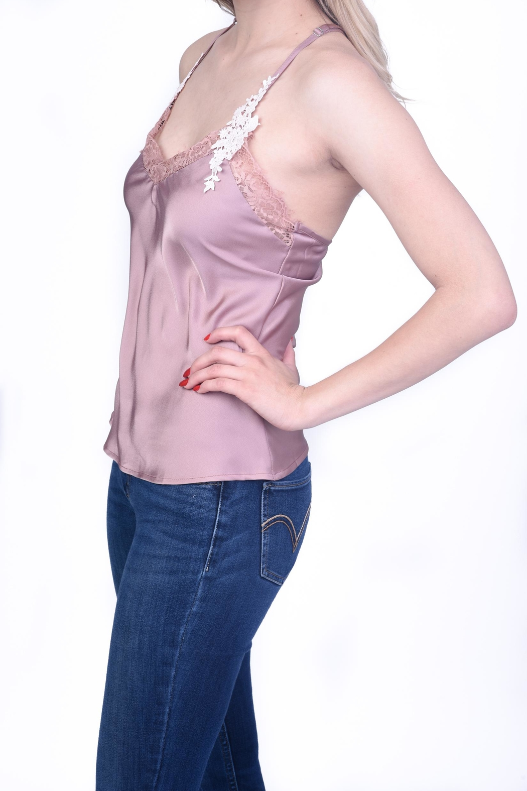 OnTwelfth Lace Slip Cami - Front Full Image
