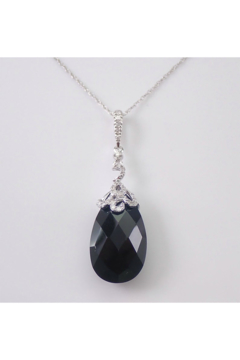 Margolin & Co Onyx and Diamond Drop Pendant Briolette Necklace 14K Gold 18