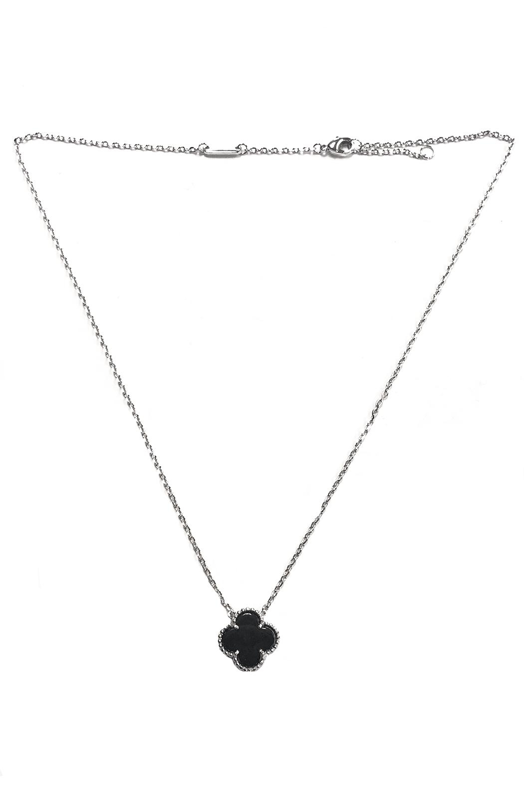 Lets Accessorize Onyx Clover Necklace - Main Image