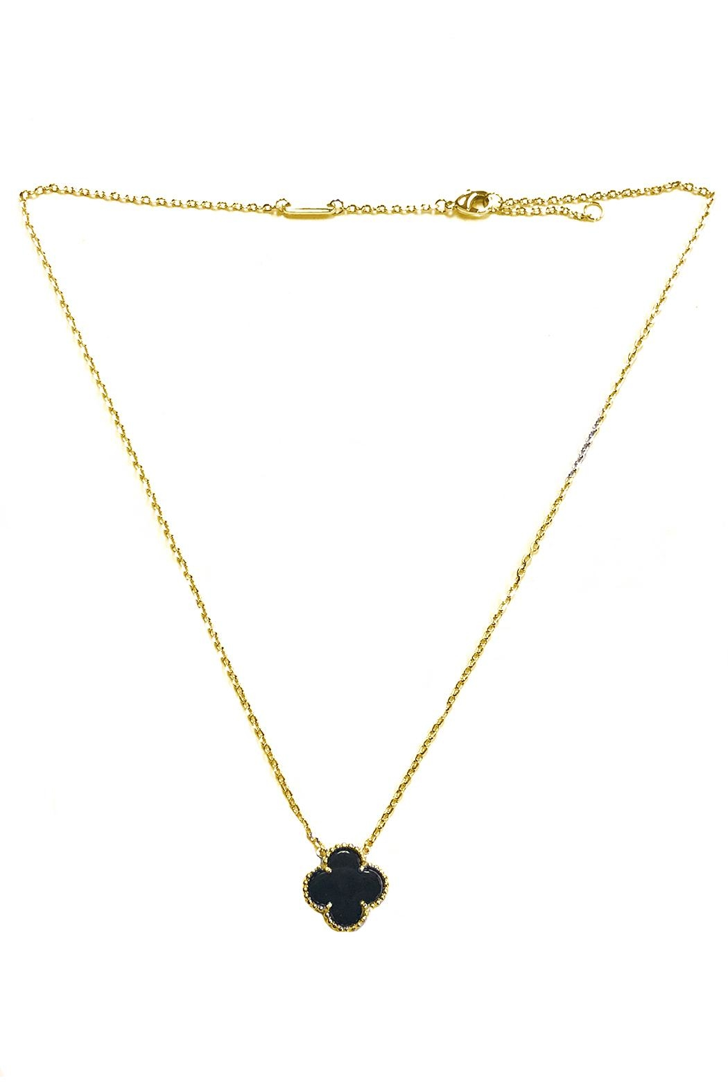 Lets Accessorize Onyx Clover Necklace - Front Cropped Image