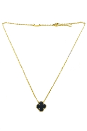 Lets Accessorize Onyx Clover Necklace - Front cropped