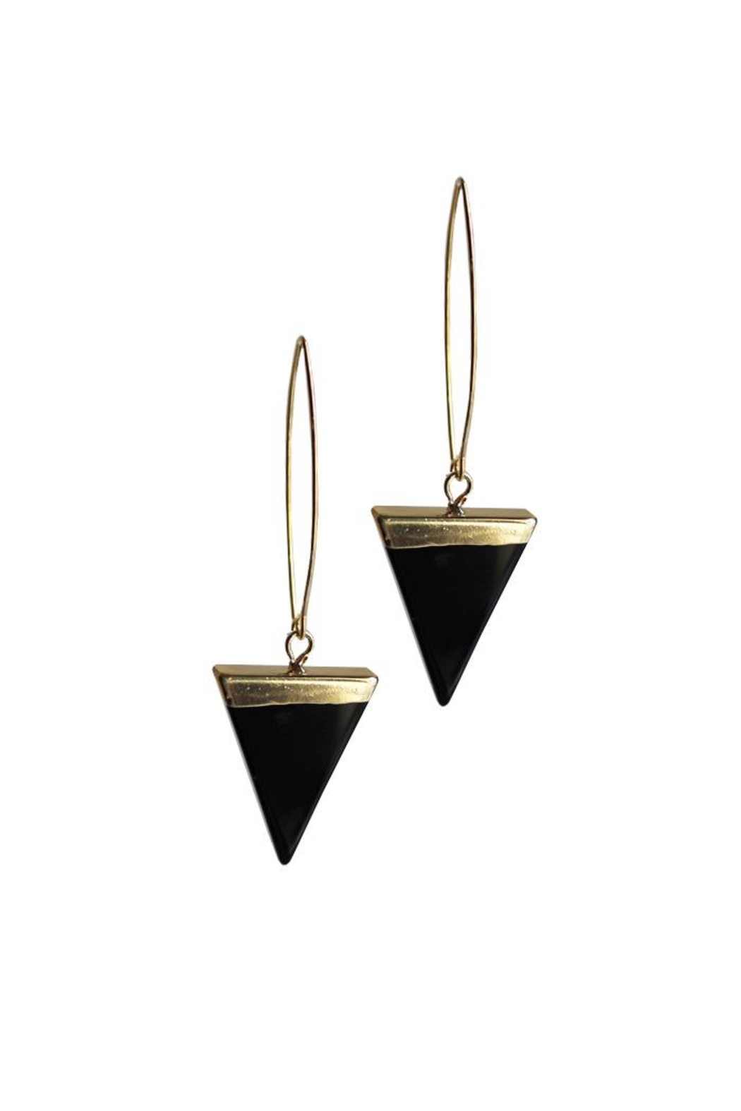 Larissa Loden Onyx Triangle Earrings - Main Image