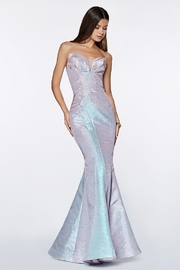 Cinderella Divine Opal Blue Strapless Fit & Flare Long Formal Dress - Front cropped