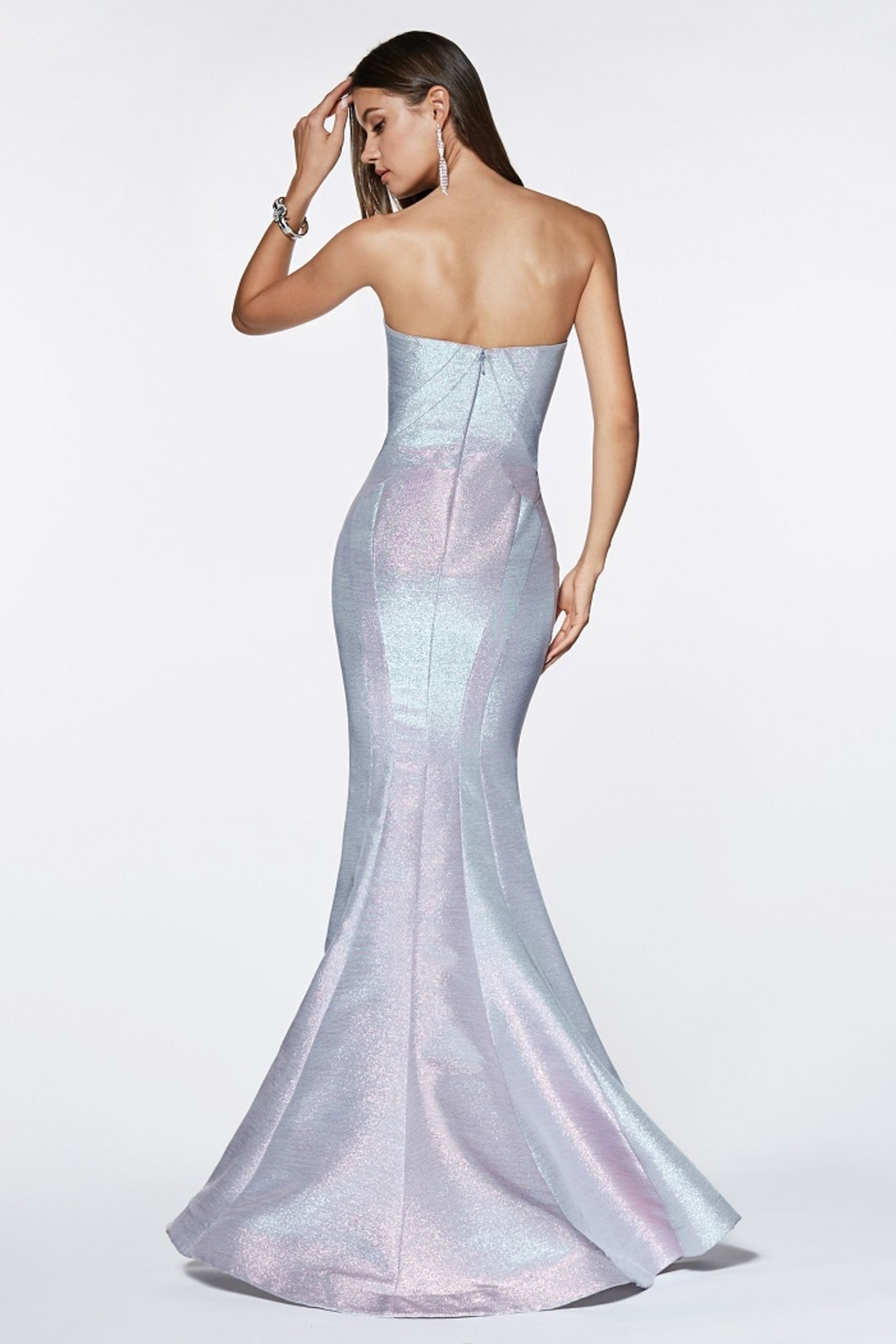 Cinderella Divine Opal Blue Strapless Fit & Flare Long Formal Dress - Front Full Image